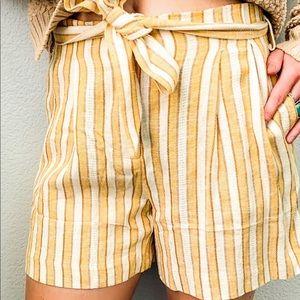 High Waisted Linen Shorts